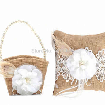 Burlap Hessian and Lace Flower Vintage Rustic Wedding  Ring Pillow and Flower Girl Basket Set