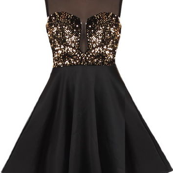 Material Girl Dress | Black Gold Sequin Party Dresses | Rickety Rack
