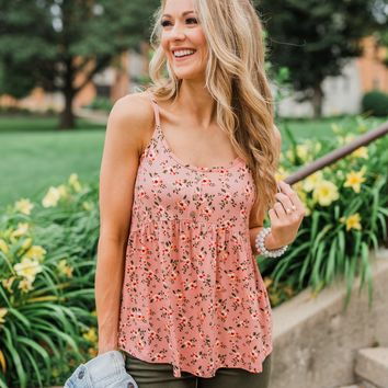 Be My Baby 3 Button Floral Babydoll Tank Top- Pink