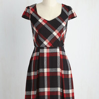 Playful of Wonder Dress in Black Plaid
