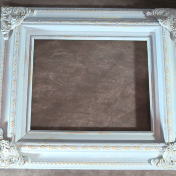 Blue Chalk Paint Frame, Blue 8x10 Frame, Blue and Gold Distressed Frame, Nursery Decor, Rectangle Frame, Chalk Painted Frame 134