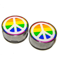 """Rainbows and Peace Signs Plugs - 1 Pair - Sizes 2g, 0g, 00g, 7/16"""", 1/2"""", 9/16"""", 5/8"""", 3/4"""", 7/8"""" & 1"""""""