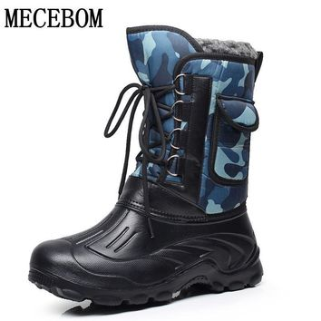 Men's rainboots shoes waterproof ankle boots lace-up mens rubber shoes cotton inside warm men boots big size 41-46 e-1