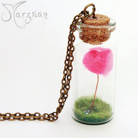 Miniature Bottle Lorax Terrarium Pendant Necklace - Bumfluff