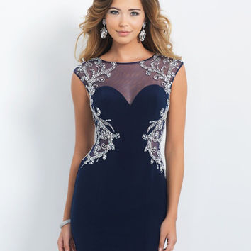 Amdml Classical Beaded Crystal Flowers Of Pattern Straight Mini Cocktail Dresses Beaded Tulle Cap-Sleeve Party Formal Dresses