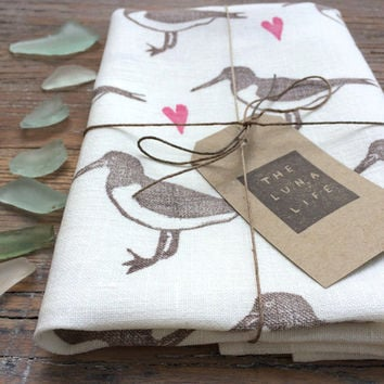100% Linen Oystercatcher & Hearts Hand Printed Luxury Kitchen Tea Towel