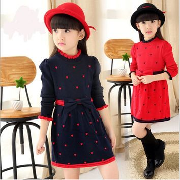 cute Girl Dress Princess Knitted dress Children Clothing heart-shaped Lace collar Costume Kid's Party Dress Baby Girl Clothes