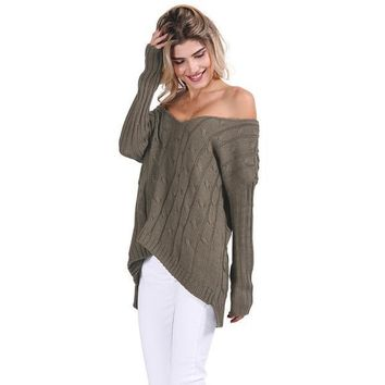 Autumn Cross Top Backless Knitted Sweater Winter Knitwear Loose Jumpers