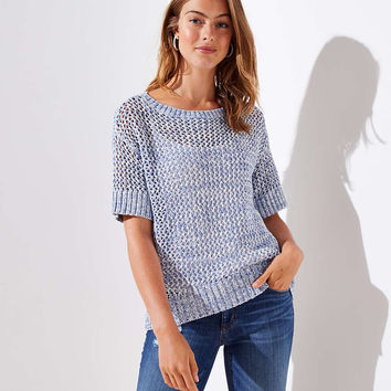 Open Stitch Short Sleeve Sweater | LOFT