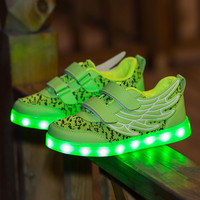 2017 Kids luminous shoes led USB recharge for girls boys children sneakers illuminated 7 colors glowing casual with light