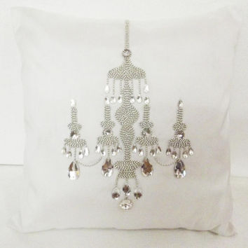 chandelier pillow white sequins pillow ornate paris pillow home decor vintage style antique decorative pillow bedroom pillow 16x16 pillow