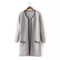 None Button Long-Sleeve Pocket Cardigan