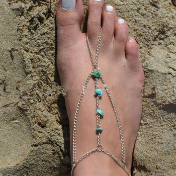 Gift Ladies Stylish Cute Shiny New Arrival Sexy Jewelry Accessory Casual Beach Vintage Turquoise Chain Anklet [6768792263]