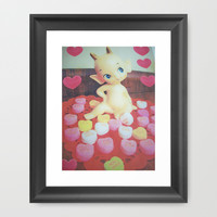 Candy kewpie hearts Framed Art Print by Vintage  Cuteness