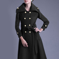 Black Long Sleeve Double Breasted Woolen Trench Coat
