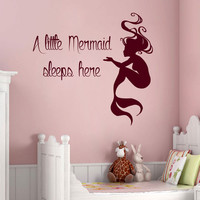 Wall Decals Quote A Little Mermaid Sleeps Here Vinyl Sticker Nursery Decor KG843