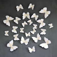 2017 HOT 12 Pcs 3D Wall Stickers Butterfly Fridge Magnet Kids DIY Home Decoration White For Living Room Bedroom Window Decal