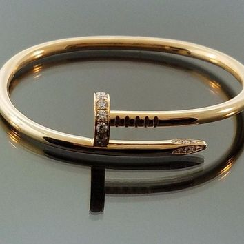 CARTIER Juste Un Clou Diamond Yellow Gold Bangle Bracelet Size 16