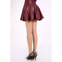 2016 Women Retro Synthetic Leather High Waist Skater Flared Pleated Mini Dresses Mujer Vestidos