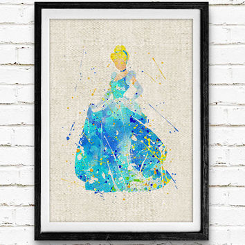 Cinderella Watercolor Art Print, Disney Princess Poster, Wall Decor, Gifts, Nursey Wall Art, Not Framed, Buy 2 Get 1 Free!