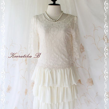 Sweet Marie Dress III - Sweet Ivory Lace Dress With Flat Balloon Layers Skirt 3/4 Sleeve Party Prom Wedding Bridesmaid Dress