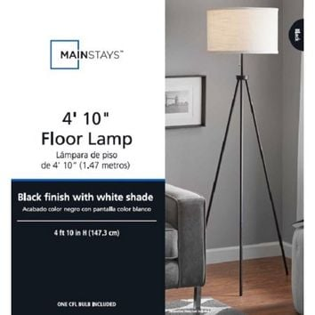 MAINSTAYS BLACK TRIPOD FLOOR LAMP - Walmart.com
