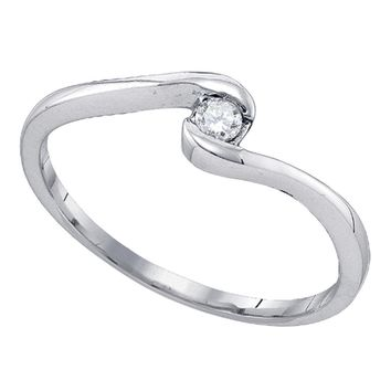10kt White Gold Womens Round Diamond Solitaire Promise Bridal Engagement Ring 1/12 Cttw