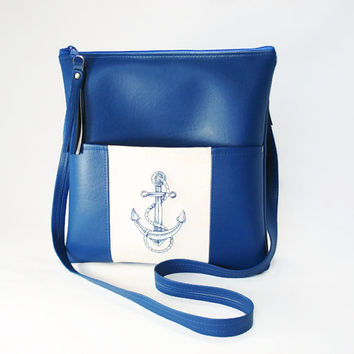 Nautical Cross Body Purse Royal Blue Vegan Leather Cross Body Bag With Embroidered Nautical Anchor Design Shoulder Strap Purse