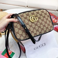 GUCCI Fashionable Women Men Retro Leather Canvas Shoulder Bag Crossbody Satchel