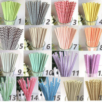 100 Colored Chevron Paper Drinking Straws-Cake Pop Sticks Decorativ Drinking Straws for Wedding Easter Chirtmas Wave Blue Yellow Navy Straws