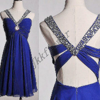 Short Royal Blue Backless Prom Dresses 2015,Beaded Prom Dresses,Royal Blue Party Dresses,Homecoming Dresses