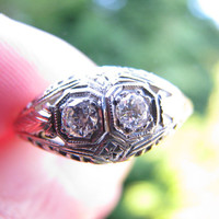 Lovely Edwardian to Art Deco 18K Diamond Engagement Ring - Fiery Old European Cut Diamonds - Intricate Detail Work