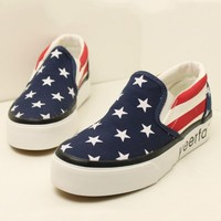 Comfortable Star And Stripe Print Canvas Flat - OASAP.com