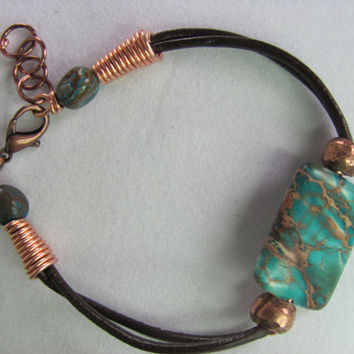 Leather bracelet Turquoise and African copper by TerrysJewelryStop