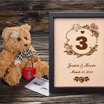 Lik152 Leather Engraved Wedding 3rd anniversary personalized gift name date three years wedding date