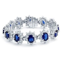 Bling Jewelry Simulated Sapphire CZ Crown Royal Inspired Tennis Bracelet Rhodium Plated