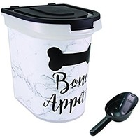 Paw Prints Plastic Pet Food Bin, Bone Appetit Design, 15lb