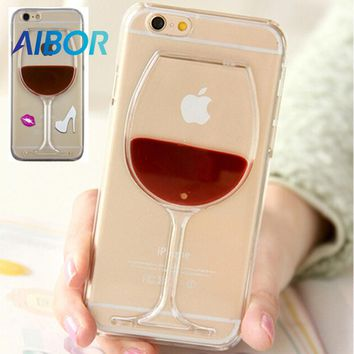 AIBOR Hot Red Wine Glass Red Lips Liquid Quicksand Transparent Phone Case Hard Back Cover For iPhone X 4 5S SE 6 6S 7 PLUS 8PLUS