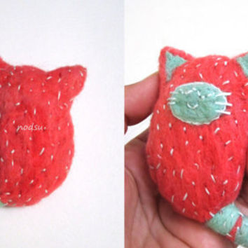Pink felted cat pet rock, needle felted kawaii sleeping kitty with a beach stone inside, embroidered toy
