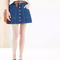 Denim Blue Button-Down Mini Skirt With Pocket