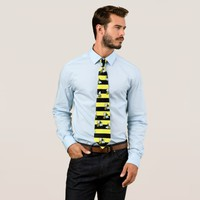 Wasp stripes and cartoon wasps striped pattern v2 neck tie