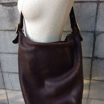 Brown Coach Purse Vintage 1980s Distressed Leather Handbag NyC New York City Huge Bucket Bag