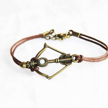 Archery bow arrow bracelet anklet bronze alloy cotton wax cord pearl inlaid summer trending simple fashion friendship graduation gifts