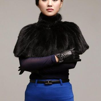 2018 New mink coat fur shawl collar mink woven jacket