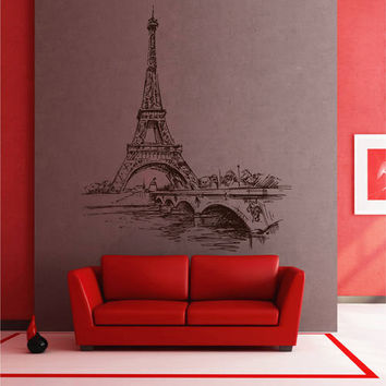 Paris Skyline Wall Decals Paris Wall Decals Eiffel Tower wall decals Cityscape Paris Wall Decals France Wall Decals kik2418