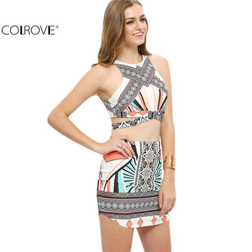 COLROVE 2016 New Summer Style New Arrival Multicolor Sleeveless Cut Away Top With Bodycon Skirt Vintage Sexy Twopieces
