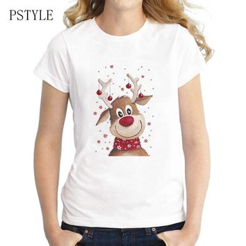 Original PSTYLE Christmas Deer Design tshirt women cute animal print t-shirt harajuku cartoon tee shirts brand tops tee 2018