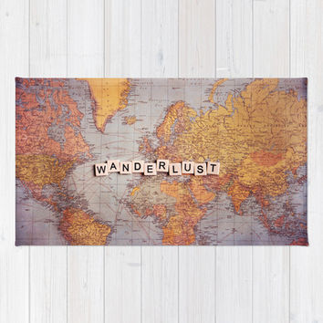 wanderlust map Rug by Sylvia Cook Photography