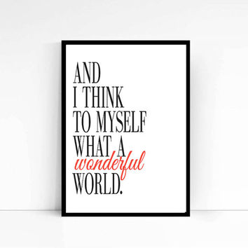 What A Wonderful World Typography Canvas Art Vintage Sheet Music Lyrics Louis Armstrong Great Gift Music Print Music Download Music Art Word