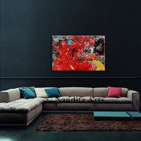 """Modern Wall Art Original Oil painting 36"""" Red Abstract Painting Turquoise Artwork Multi Color Contemporary Art home decor wall hanging"""